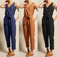 New Plus Size Women Overall Casual Rompers Sleeveless V-Neck Belt Slim Jumpsuit Linen Long Sexy Jump Suit mono mujer verano #25
