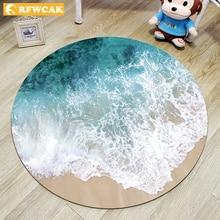 RFWCAK 3D морской пляж круглый ковер компьютерный стул коврик для гостиной коврик Детская комната спальня Противоскользящий ковер Tapete Para Sala домашний декор