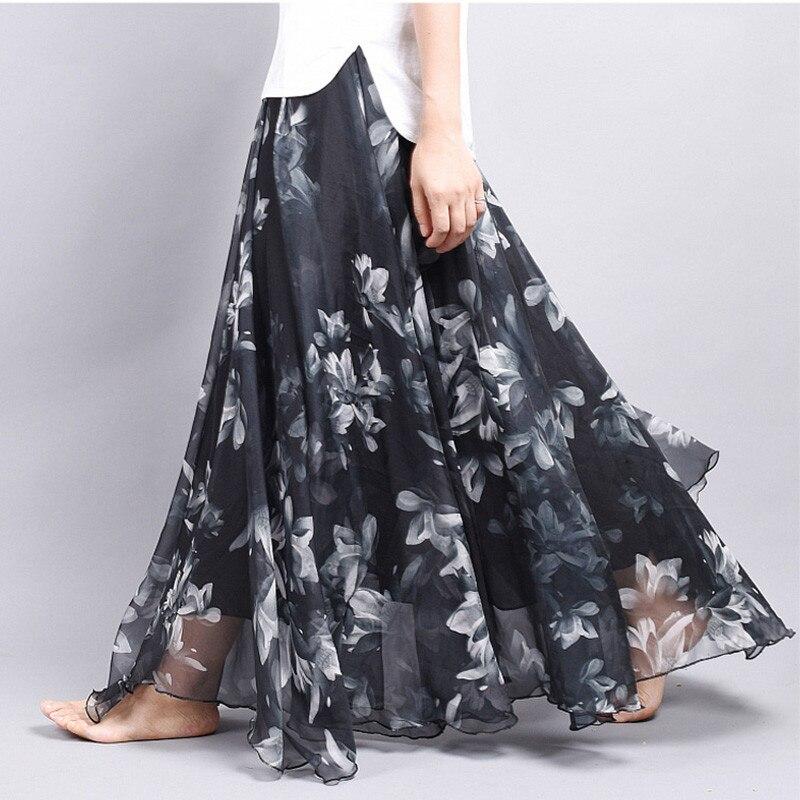 Brand Long Skirt Print Light Fabric Chiffon Summer Clothes Saia Beach Bohemian Maxi Skirts Women High Waist Casual Vestidos