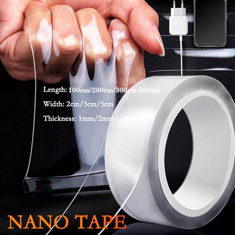 Нано-лента 1/2/3/5 м, Двусторонняя прозрачная, не оставляет следов, многоразовая водонепроницаемая клейкая лента, подходит для уборки дома