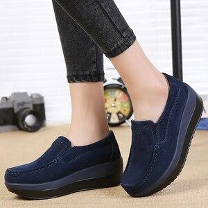 Image 3 - 2019 秋の女性のプラットフォームスニーカー靴革スエード厚い底オックスフォード女性モカシンレディース 3213
