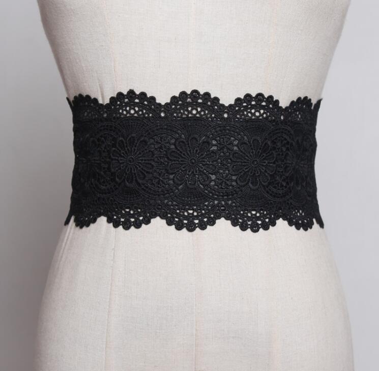 Women's Runway Fashion Elastic Lace Cummerbunds Female Dress Corsets Waistband Belts Decoration Wide Belt R1887
