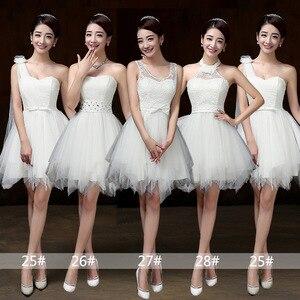 Image 1 - Vestidos curtos brancos para damas de honra, vestimenta para meninas para festa de casamento, formatura, primavera, verão PSQY B, novidade 2020