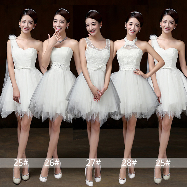Vestidos curtos brancos para damas de honra, vestimenta para meninas para festa de casamento, formatura, primavera, verão PSQY B, novidade 2020