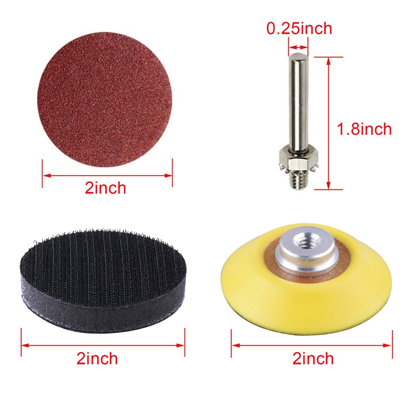 200Pcs 50mm 2 Inch Sander Disc Sanding Discs 80-3000 Grit Paper with 1Inch Abrasive Polish Pad Plate + 1/4 Inch Shank for Rotary 4