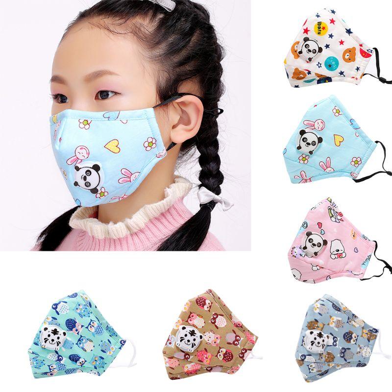 Winter Children Kids Anti-Dust Cotton PM2.5 Face Mouth Mask Colorful Cartoon Bear Rabbit Printing Adjustable Respirator