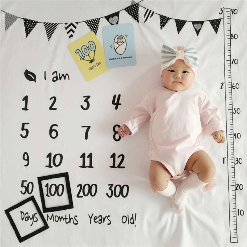 100x100cm Baby Milestone Blankets Muslin Newborn Photography Background Props Infant Swaddle Wrap Bed Quilt Kids Bath Towel D08C