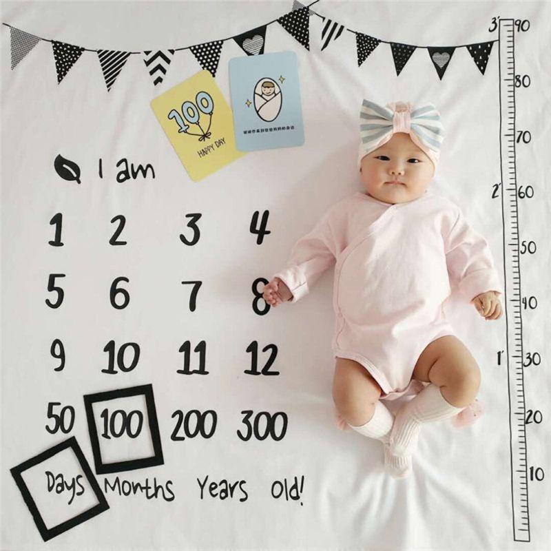 100x100cm Baby Milestone Blankets Muslin Newborn Photography Background Props Infant Swaddle Wrap Bed Quilt Kids Bath Towel D08C