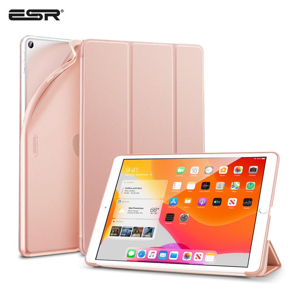 ESR Rubberized Coating Case For IPad 7 2019 Rebound Slim Smart Stand Case With Flexible TPU Back Cover For IPad 7th Gen 10.2