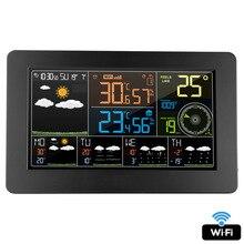 Настенная Цифровая метеостанция FanJu с Wi Fi и будильником, термометр, гигрометр, прогноз погоды, барометр FJW4