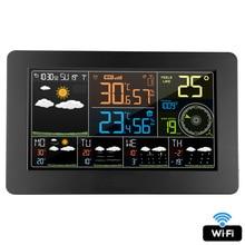 FanJu Wifi Weather Station Wall Digital Alarm Clock Thermometer Hygrometer Future Weather Forecast Wind Direction Barometer FJW4
