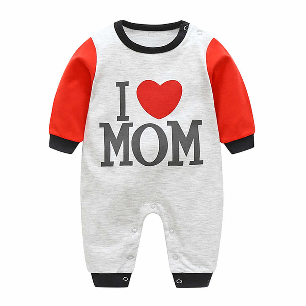 Baby Cute Clothes Romper Casual Newborn Infant Baby Boy Girl Letter I love Mom Romper Jumpsuit Clothes Outfits Costumes Pajamas