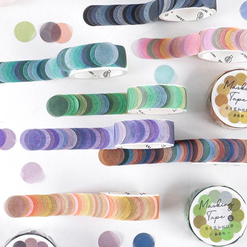 100 pces/rolo colorido pontos washi fita adesiva decorativo scrapbooking diário diy japonês papelaria etiqueta adesivos