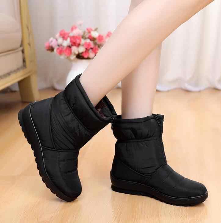 2019 Kadın kar botları platformu sıcak kış çizmeler kalın peluş su geçirmez olmayan-kayma çizmeler kadın kış ayakkabı botas mujer wyq173