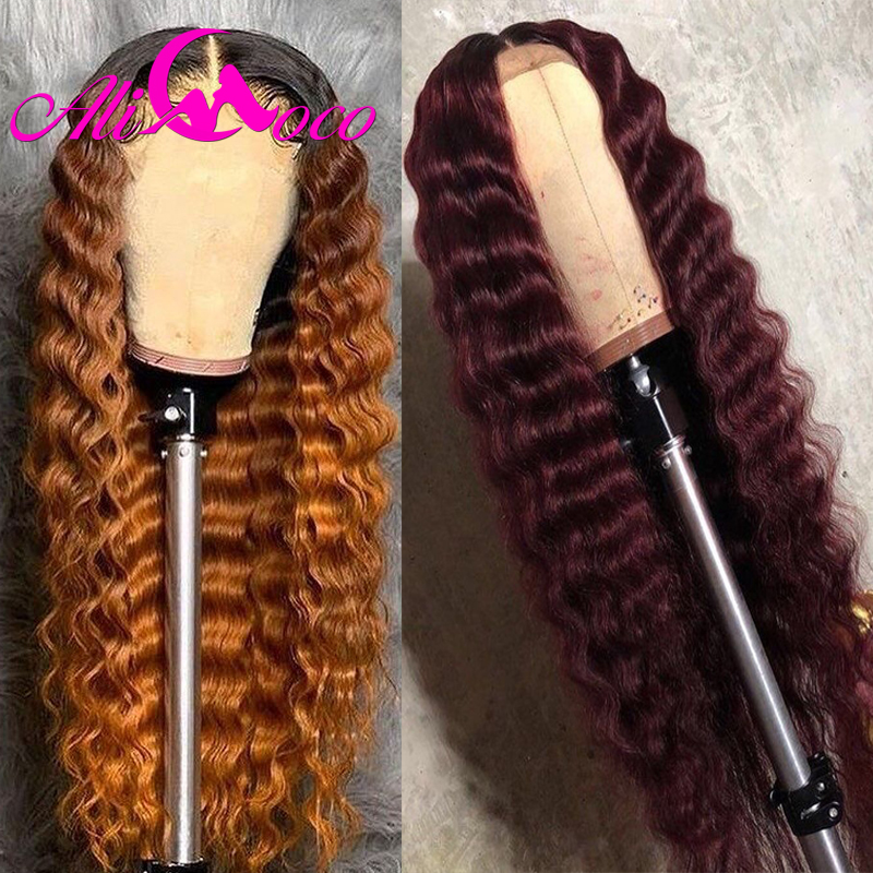 Ali Coco 13x4 99j Deep Wave Human Hair Lace Front Wigs 1B/30/Orange Ginger Ombre Color Brazilian Remy Deep Wave Wigs Pre Plucked