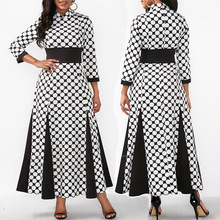 Black and white polka dot dress African women fall winter color matching color printing 7 points sleeve office women's self-cult цены