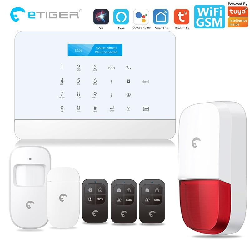 Tuya alarm security system Smart home MINI WIFI GSM Home Security Alarm System Wireless with IP Video Camera Alexa Google Home