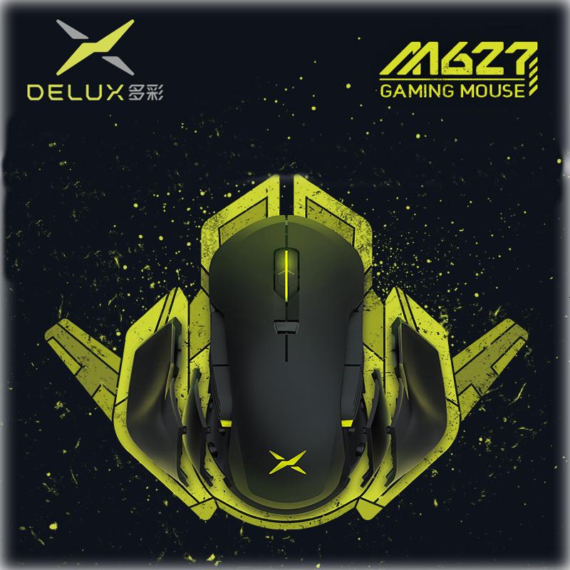Delux M627 PMW3389 Wireless+Usb cable RGB Gaming Mouse Left Right Handed Gamer Computer Mause 16000 DPI Usb Optical PC Game Mice image