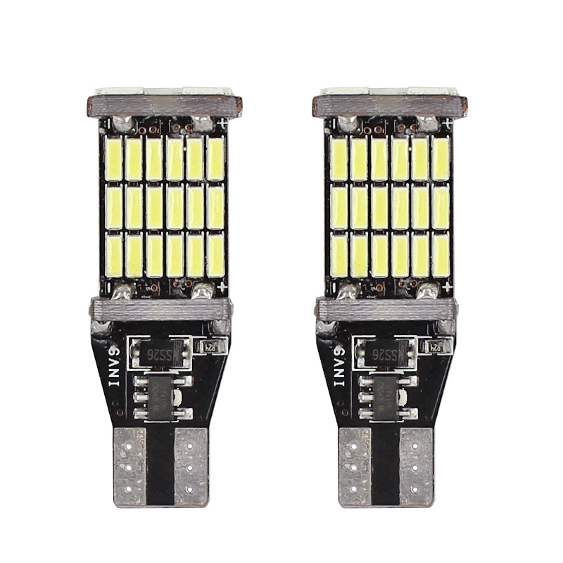 2 Pcs Universal Decoding Auto LED Taillight T15 Bulb 45SMD 6000k White Backup Reverse Brake Stop Lighting B99