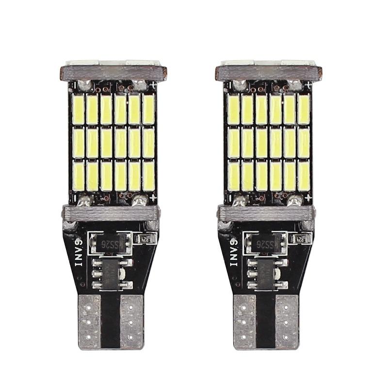 2 Pcs Universal Decoding Auto LED Taillight T15 Bulb 45SMD 6000k White Backup Reverse Brake Stop Lighting B99