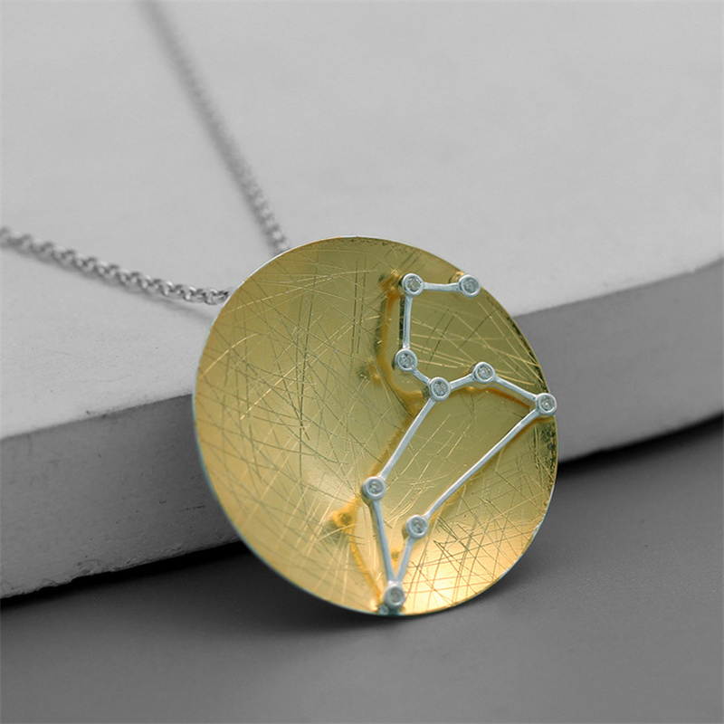 INATURE 925 Sterling Silver <font><b>12</b></font> <font><b>Constellation</b></font> <font><b>Pendant</b></font> <font><b>Necklace</b></font> <font><b>Zodiac</b></font> <font><b>Sign</b></font> <font><b>Necklaces</b></font> For Women Gifts image