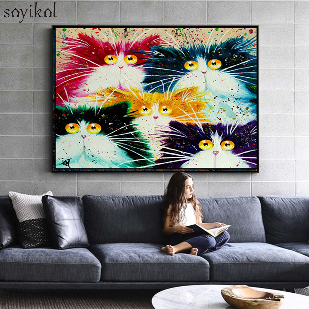 DIY Painting By Numbers Cat Framed Picture DIY Coloring By Numbers On Canvas Colorful Cats Home Decor Acrylic Paint Drawing