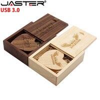 JASTER USB 3.0 1PCS libero logo personalizzato noce Cuore USB + box Flash Drive Pendrive 64GB 32GB 16GB4GB U Disk fotografia di matrimonio regalo