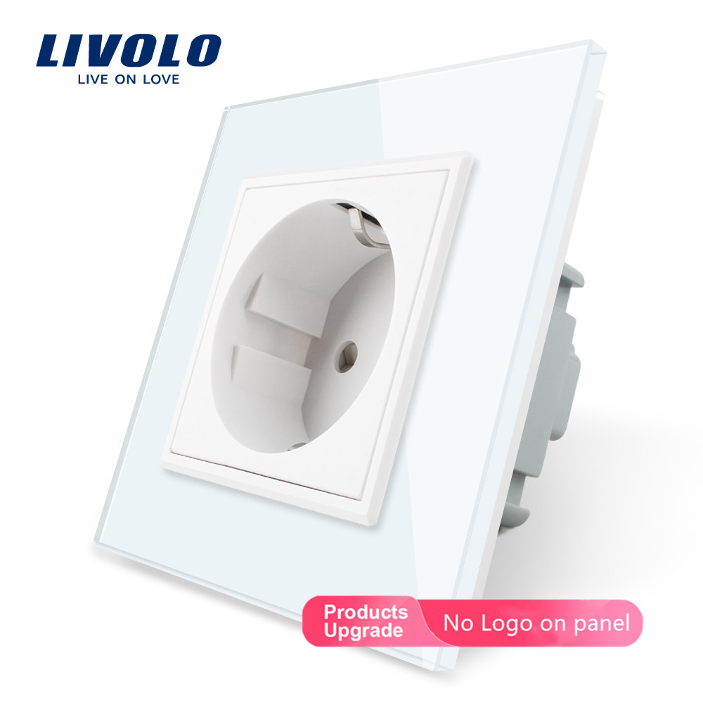 Livolo EU Standard Power Socket, White Crystal Glass Panel, AC 110~250V 16A Wall Power Socket, VL-C7C1EU-11,no Logo