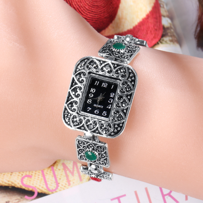 Trendy Silver Plated Bracelet Watch For Women Jewelry Personality Crystal Resin Girls Bracelet Lady Quartz Watch Accessories