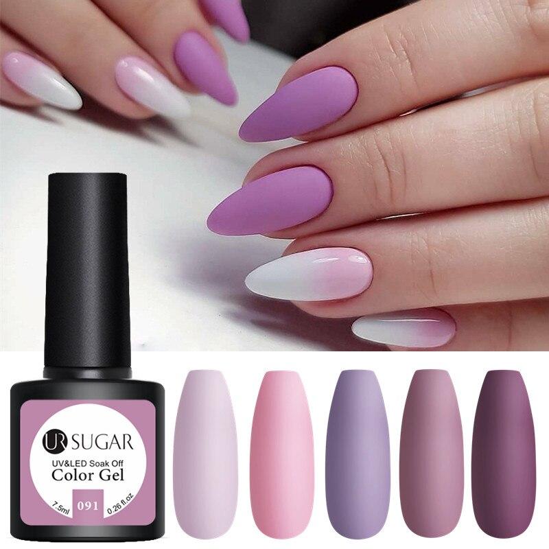 Матовый лак для ногтей UR SUGAR 7,5 мл, Полупостоянный Светодиодный УФ Гель лак для ногтей фиолетового и розового цветов Гель для ногтей      АлиЭкспресс