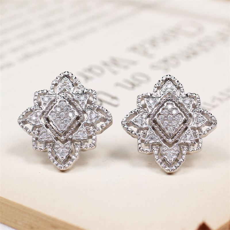 CMajor S925 Solid Sterling Silver Hollow Out Delicate Vintage Temperament Elegant Two Tone Geometric Stud Earrings for Women