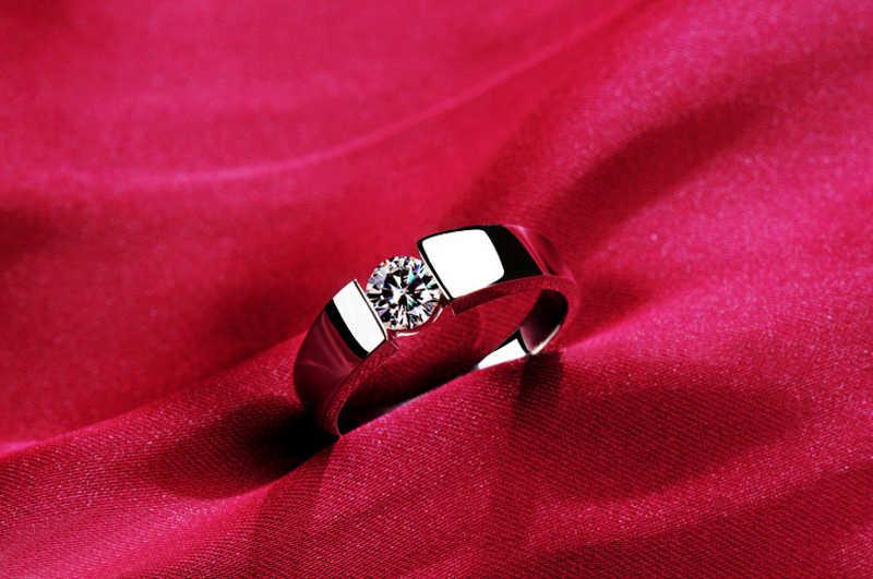 인증서와 함께 정품 925 스털링 실버 반지 남성 여성 커플 반지 웨딩 밴드 여성 손가락 반지 파인 쥬얼리 RD10