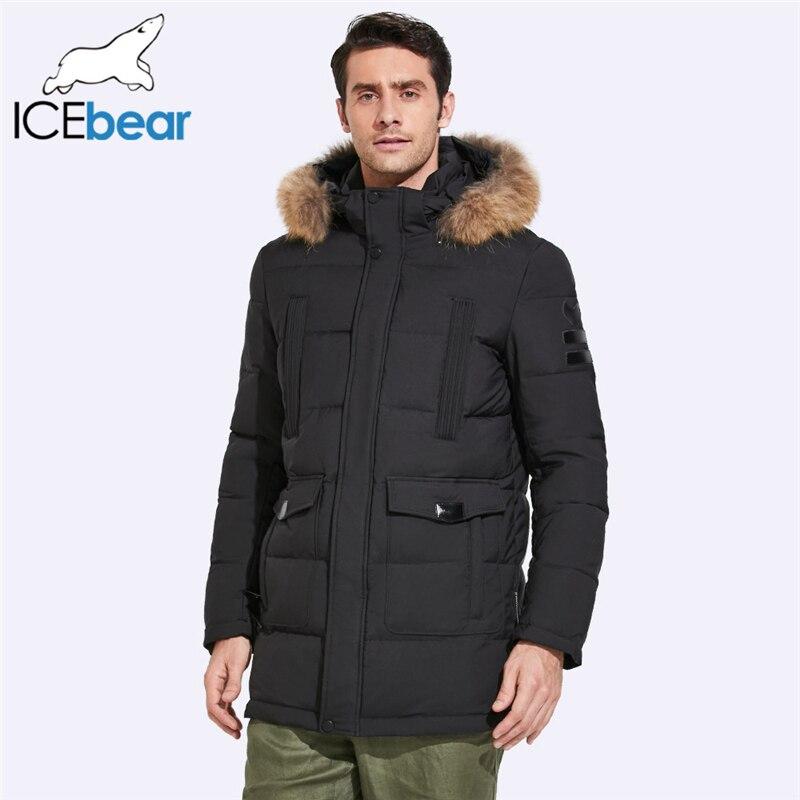 ICEbear 2019 куртка средней длины мужская зимняя Съемный воротник из меха енота и шляпа большой карман дизайн ветрозащитное плотное пальто 17MD901D