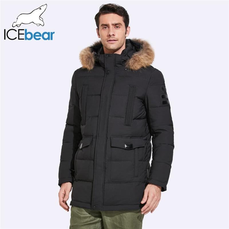 ICEbear 2019 Mid-Long Jacket Men Winter Detachable Raccoon Fur Collar And Hat Large Pocket Design Windproof Thick Coat 17MD901D