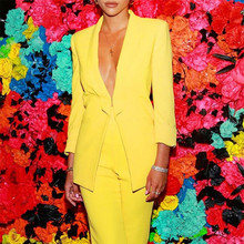 Women Business Suits Blazer Jacket+Pants Formal Yellow Ladie