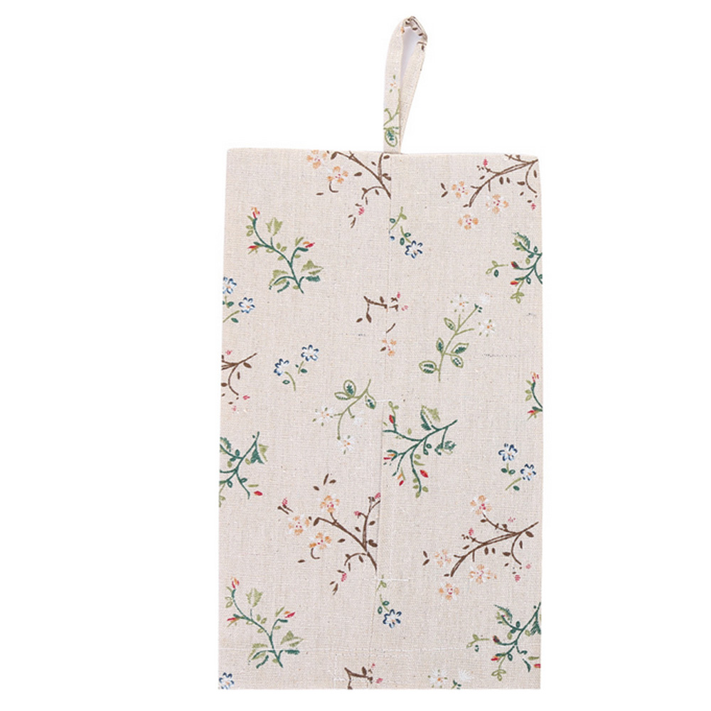 4Pcs/set Cotton and Linen Hanging Paper Towel Bag Newest Useful cotton and linen yellow flower   - title=
