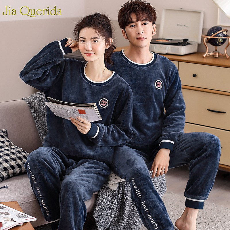 Couple Sleepwear Pajamas Matching Home-Suits Winter Men And Letter Flannel Embroidered