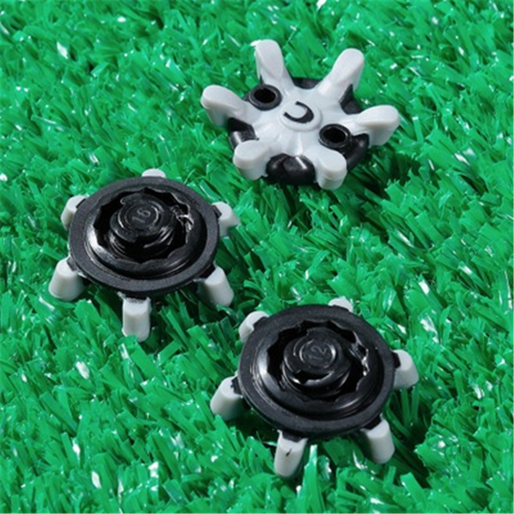 14PCS Golf Spikes Quick Nails Black Grey Short Teeth Soft Spikes Pins Turn Fast Twist Shoe Spikes Replacement Set