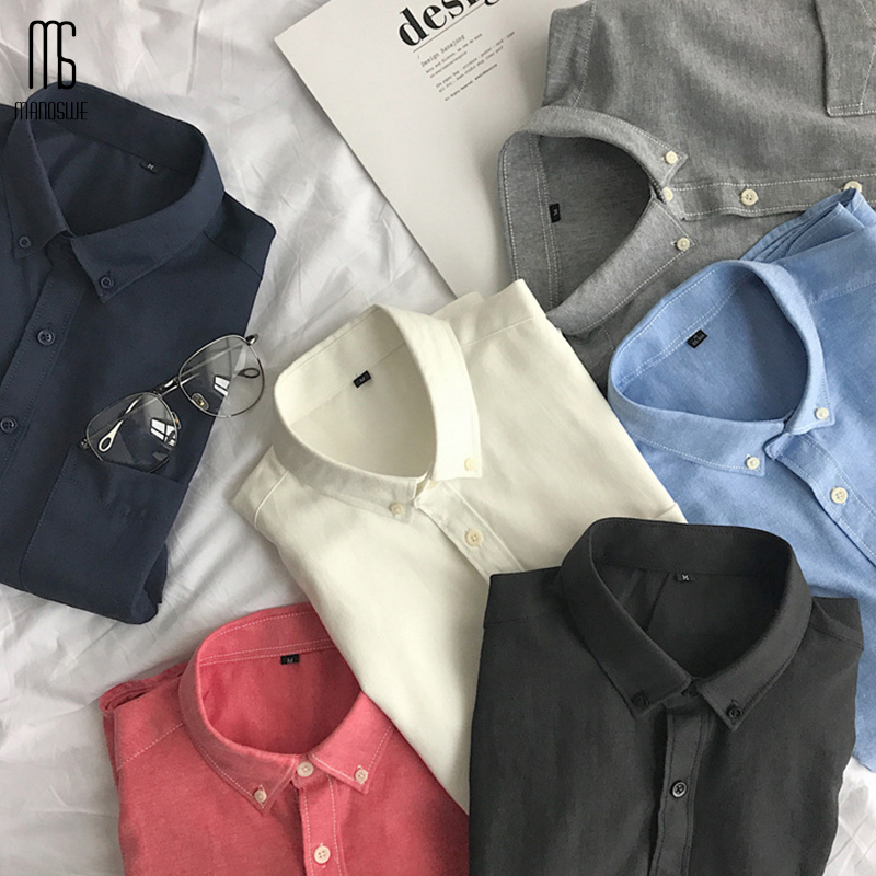 Manoswe Spring Men's Oxford Long Sleeve Turn-down Collar Solid Shirt New Fashion Pocket Loose Blouses Oversize 5XL