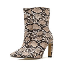 2019 Women 11.5cm High Heels Fetish Brown Zip Boots Lady Snake Skin Print Fall Serpentine Ankle Boots Block Heel Plus Size Shoes(China)
