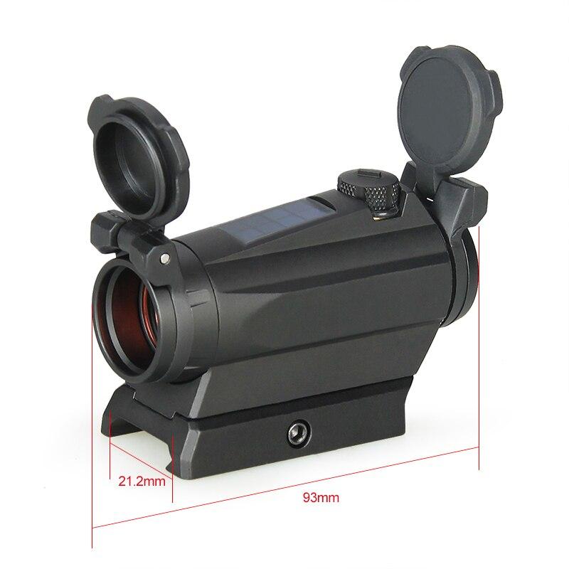 PPT1x20mm Red Dot Sight Zielfernrohr Jagd Optik 1x Reflex Solar Energie 2MOA 65MOA Tactical Scope Schiene Picatinny Schiene PP2-0126