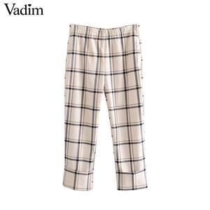 Image 1 - Vadim damskie stylowe kratki proste stylowe spodnie kieszenie w pasie kobiece dorywczo eleganckie spodnie do kostek mujer KB202