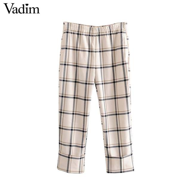 Vadim damskie stylowe kratki proste stylowe spodnie kieszenie w pasie kobiece dorywczo eleganckie spodnie do kostek mujer KB202
