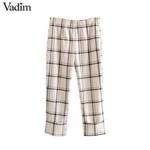 Vadim feminino elegante xadrez estilo reto calças bolsos cintura elástica feminino casual chique tornozelo comprimento mujer kb202