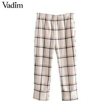 Vadim women stylish plaid straight style pants pockets elastic waist female casual chic ankle length trousers mujer KB202