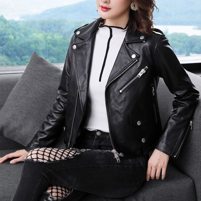 Fashion Real Sheepskin Coat Women Winter Clothes 2020 Korean Streetwear Moto Genuine Leather Jacket Female Chaqueta 1724