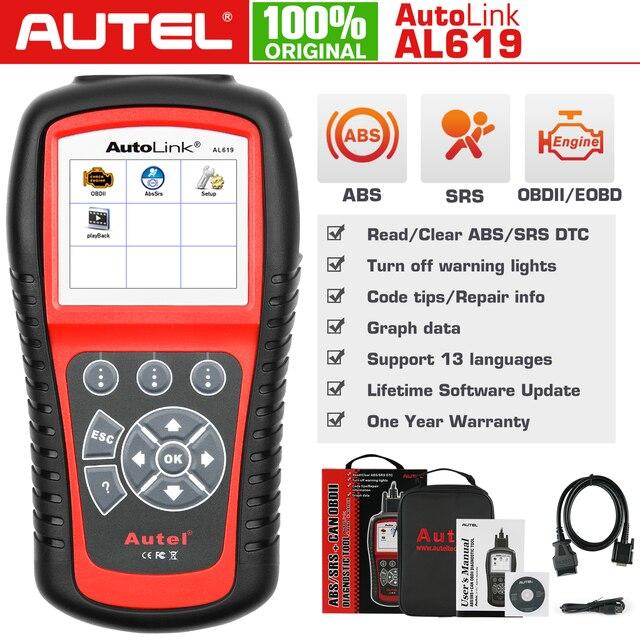 Autel الرابط الآلي AL619 OBD2 الماسح الضوئي سيارة التشخيص أداة المحرك ، ABS ، SRS السيارات سيارة قانون القارئ OBD 2 السيارات تشخيص أداة
