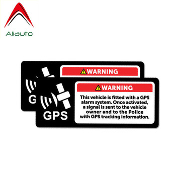 Aliauto 2 X Warning Car Sticker Gps Alarm System Decal Accessories PVC for Jeep Renegade Turk Vw T4 Renault Clio Saab,12cm*8cm image