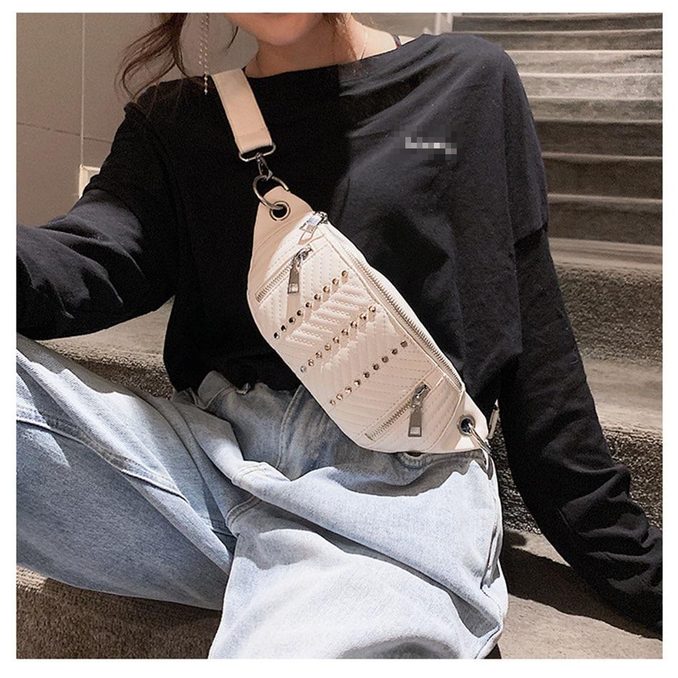 Waist Bag Women Leather Pink White Fanny Pack Female Belt Bag Rivet Chest Phone Pouch Fashion Shoulder Bag Black Waist Packs
