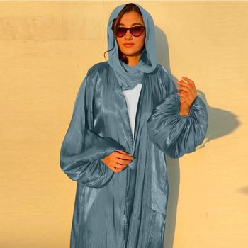 Eid Djellaba Abaya Dubai Shiny Soft Puff Sleeves Muslim Dress Satin Abaya Dubai Turkey Muslim Dress Islam Abayas With Belt WY56 2